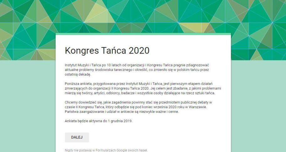 Zdjęcie: Kongres Tańca 2020 – ankieta